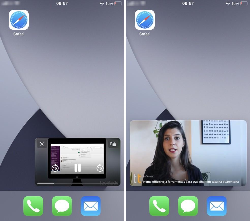 PiP do YouTube no iPhone pode ser movimentado e redimensionado na tela — Foto: Reprodução/Rodrigo Fernandes