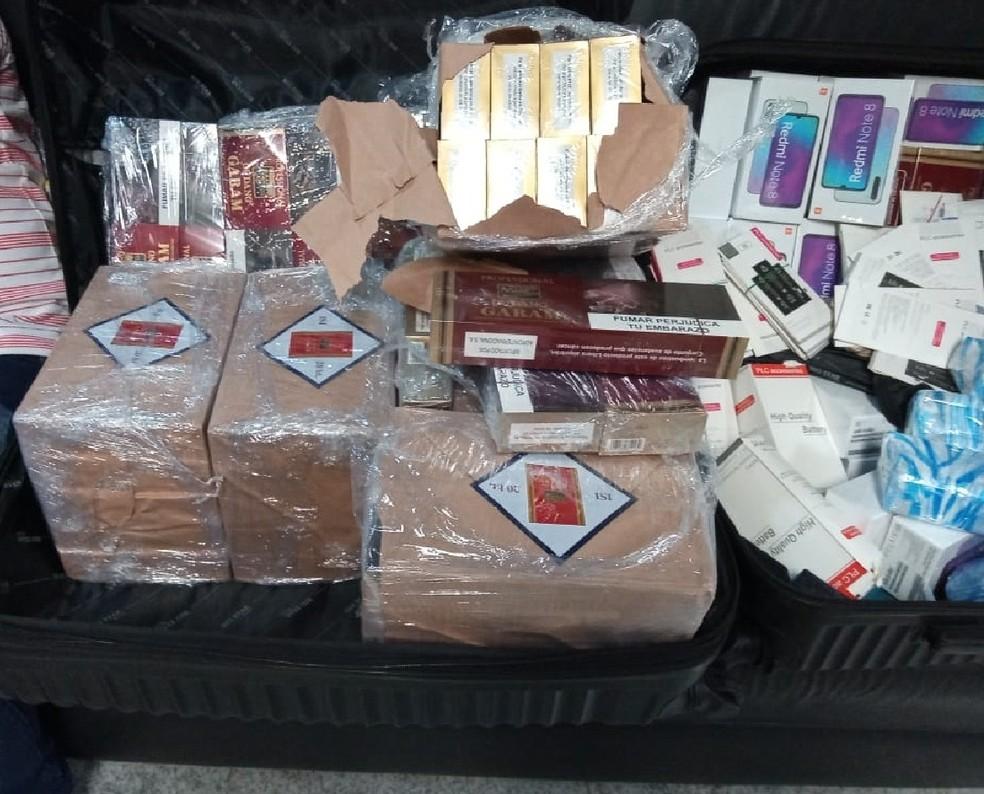 Cigarros produzidos na Indonésia foram apreendidos no Aeroporto do Recife — Foto: Reprodução/TV Globo