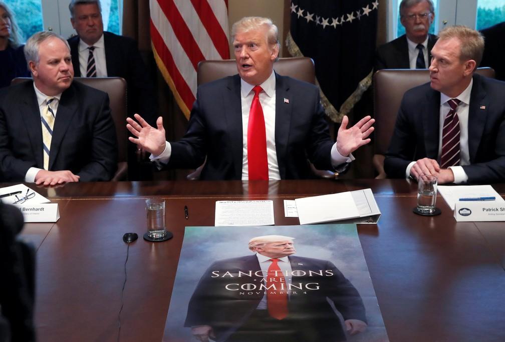 Presidente Trump participa de reunião na Casa Branca, em Washington — Foto: Reuters/Jim Young