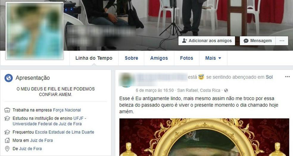 -  No perfil de uma rede social idoso informou que trabalha na Força Nacional  Foto: Rede Social/Reprodução