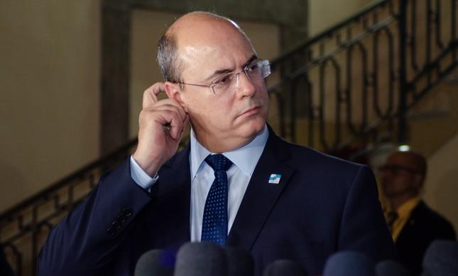 O governador Wilson Witzel dá entrevista no Palácio Guanabara