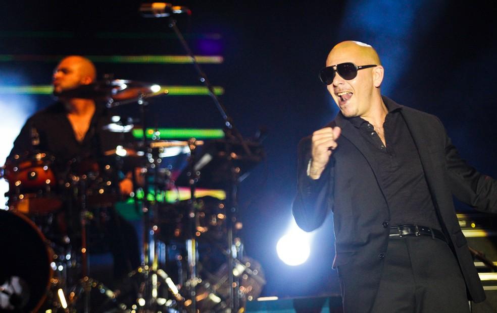 O rapper Pitbull passou mal e não participou do primeiro dia oficial do carnaval de Salvador, nesta quinta. (Foto: Leo Paiva/Divulgação)