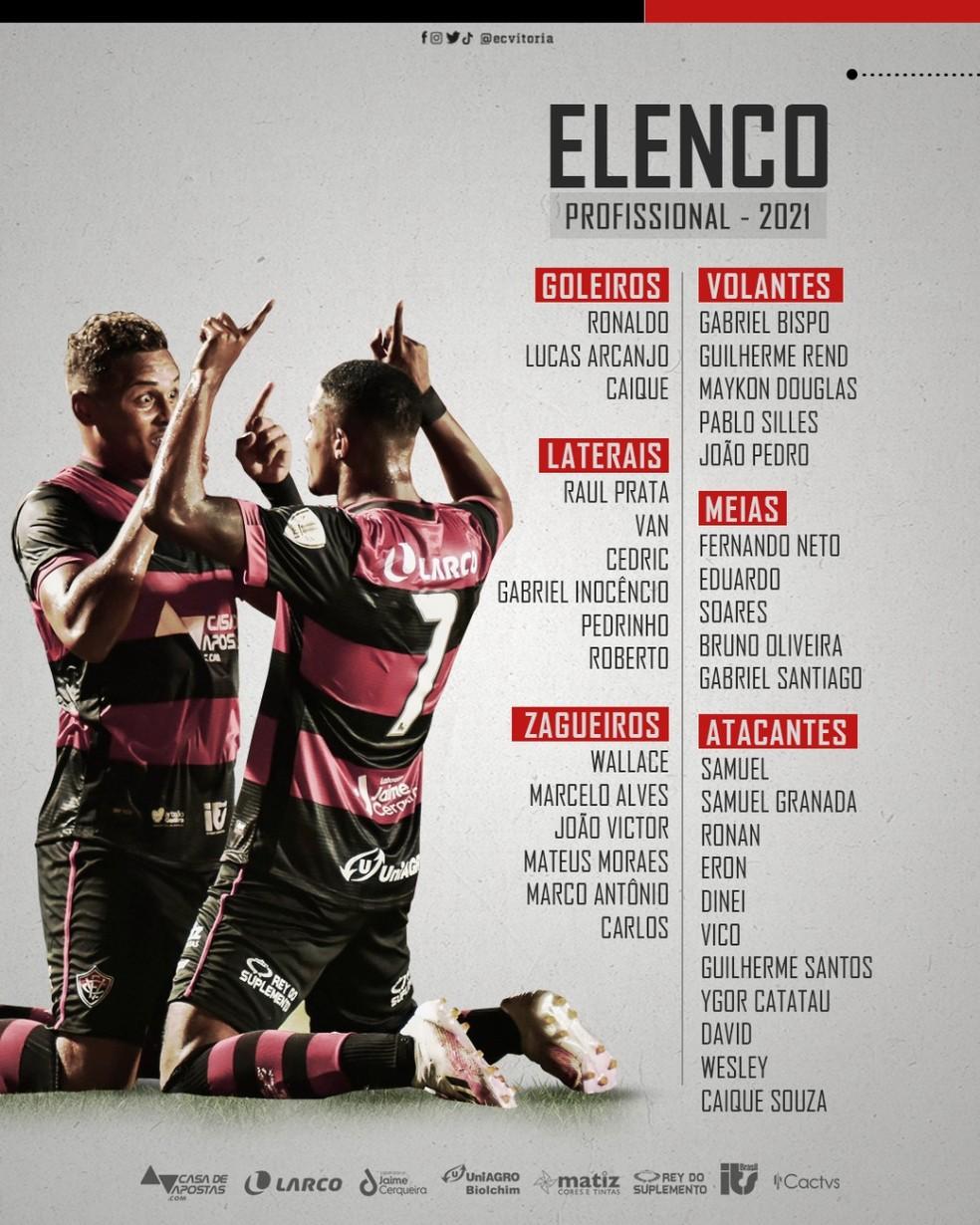 Vitória divulgou em junho o elenco profissional para 2021 — Foto: Divulgação/EC Vitória