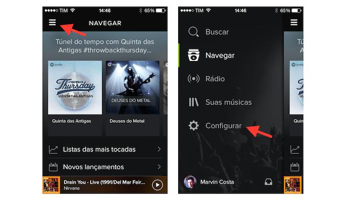 Acessando as configurações do Spotify no iOS (Foto: Reprodução/Marvin Costa)