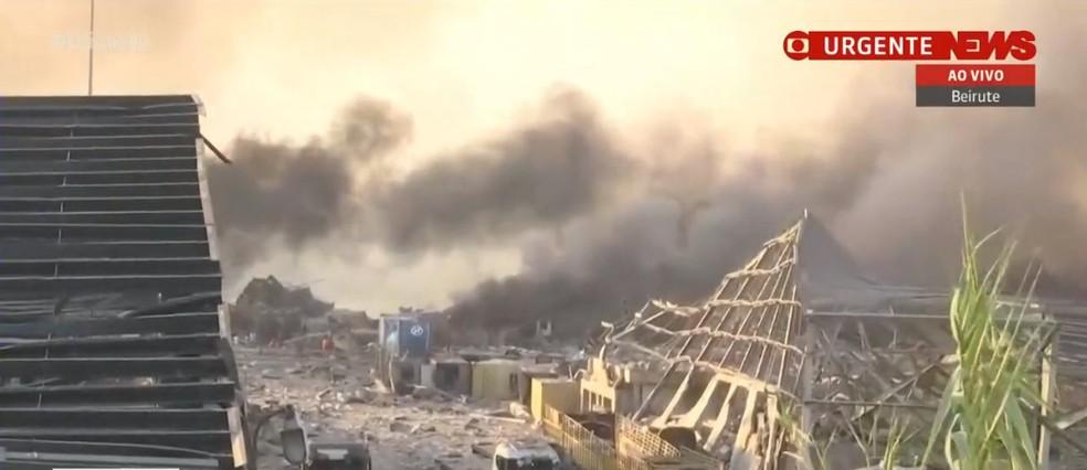 Explosão em região portuária de Beirute — Foto: GloboNews