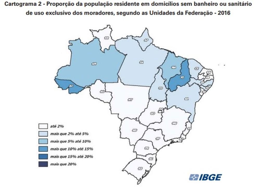 12,3% da população do Piauí vive em domicílios sem banheiro ou sanitário, sendo esse o pior índice do país (Foto: Reprodução/ IBGE)