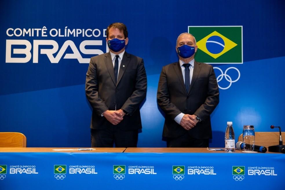 Marco La Porte e Paulo Wanderley na eleição do COB — Foto: Divulgação/COB