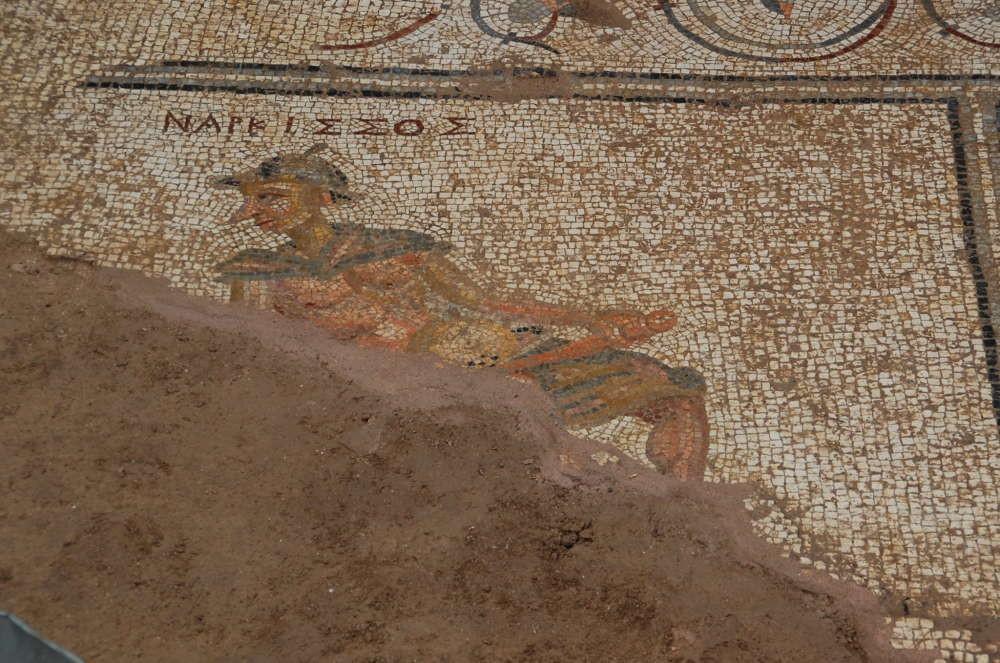 Mosaico mostra Narciso com nariz grande e pontudo (Foto: University of Nebraska)
