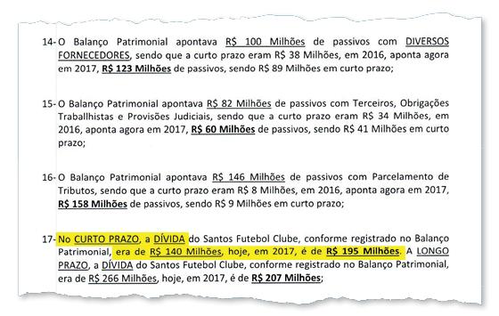 Trecho do parecer redigido pelo Conselho Fiscal do Santos sobre as contas de 2017 (Foto: Reprodução )