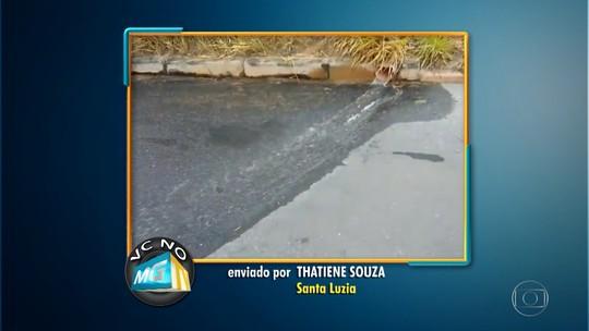Moradora de Santa Luzia filma vazamento de água em reservatório da Copasa
