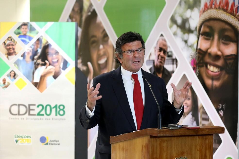 O presidente do Tribunal Superior Eleitoral (TSE), ministro Luiz Fux, durante divulgação do perfil do eleitor (Foto: Roberto Jayme/ASCOM/TSE)