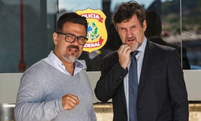 Marcelo Antunez e Antonio Calloni, diretor e ator, respectivamente, de 'Polícia Federal – A lei é para todos', filme sobre a Operação Lava-Jato    (Foto: Divulgação/Ique Esteves )