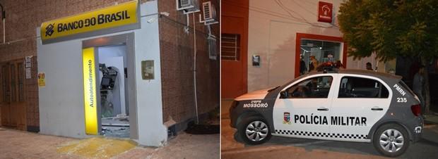Unidades bancárias do Bradesco e Banco do Brasil foram alvos dos criminosos (Foto: Misael Alcântara)