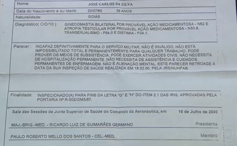 Laudo que determinou aposentadoria de Maria Luiza da Silva da FAB — Foto: TV Globo/Reprodução