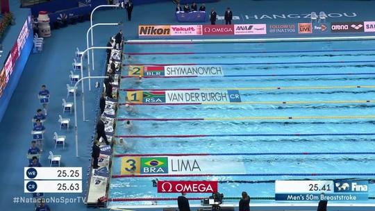 Felipe Lima é bronze nos 50m peito, e Brasil chega ao sétimo pódio no Mundial de Hangzhou