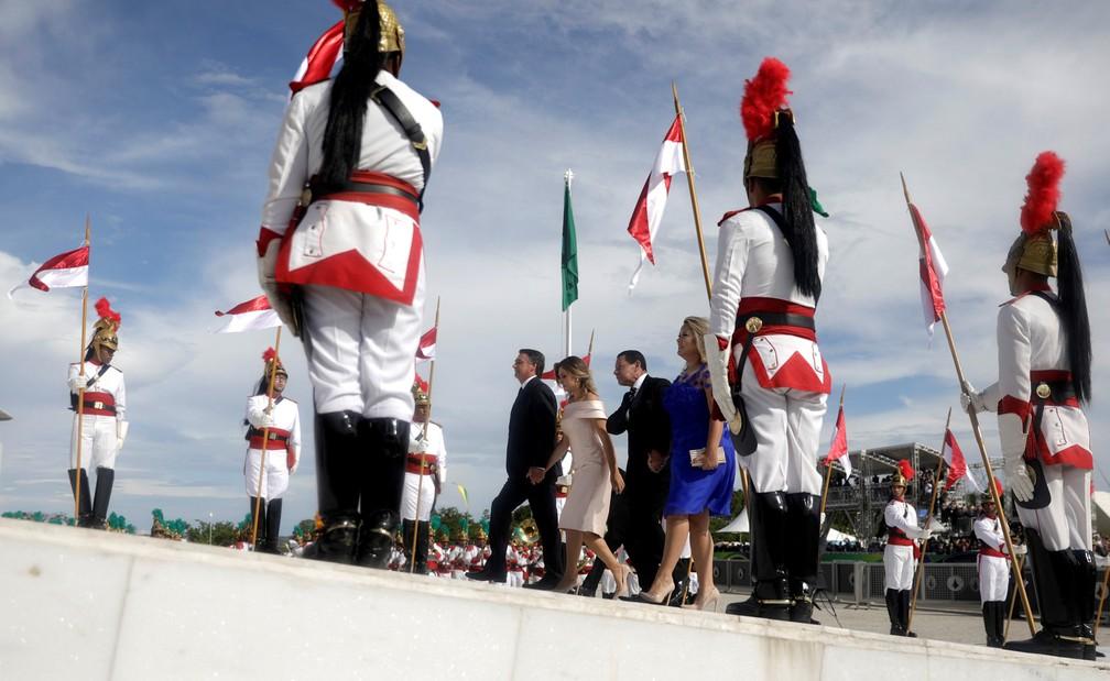 Bolsonaro chega ao Planalto para receber a faixa presidencial — Foto: Sergio Moraes/Reuters