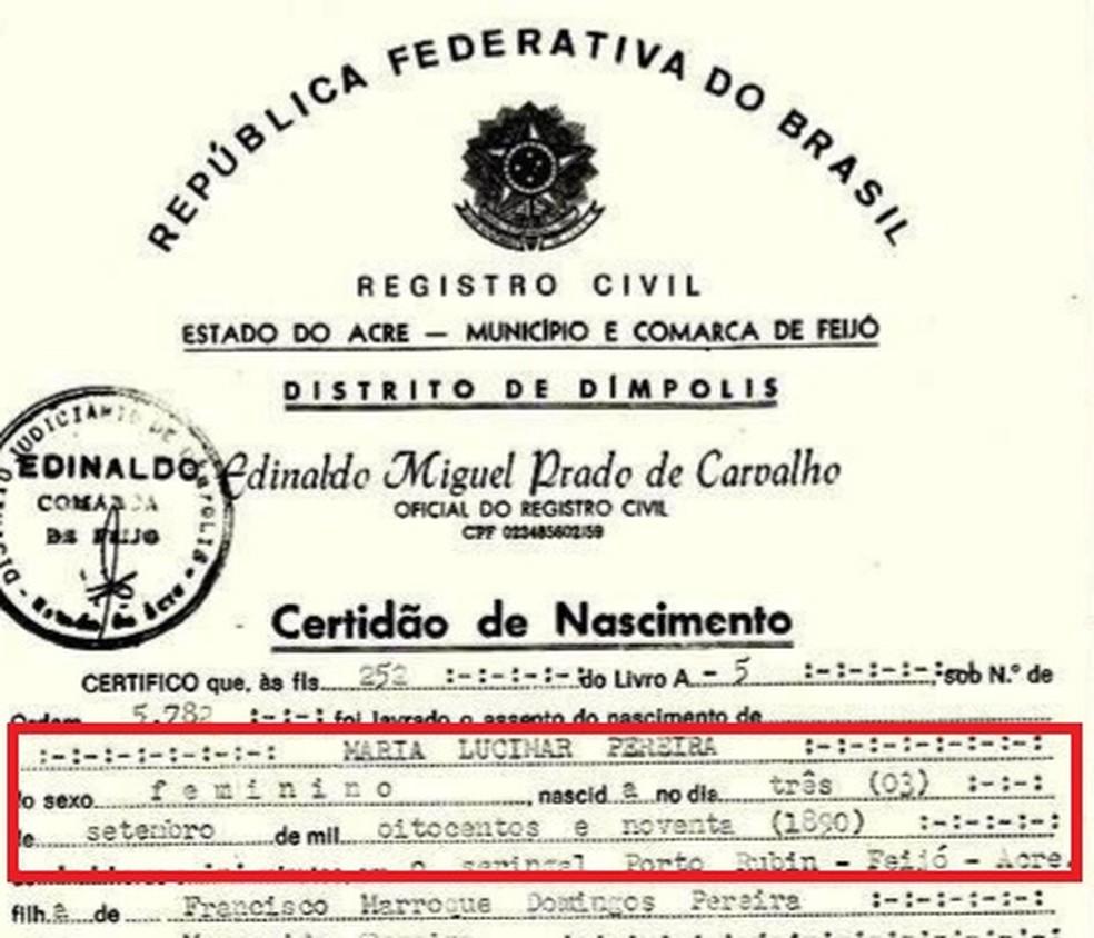 Certidão da indígena mostra que ela nasceu em 1890   — Foto: Pedro Campos, Arquivo pessoal