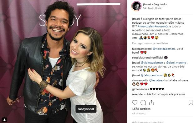 José Trassi comemora reencontro com Sandy, com quem atuou no seriado Sandy e Juniro (1999-2002) (Foto: Reprodução/Instagram)
