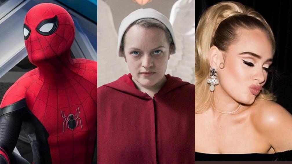 'Homem-Aranha 3', nova temporada de 'The Handmaid's Tale' e novo álbum de Adele estão entre novidades previstas para o ano — Foto: Divulgação e Reprodução/Instagram