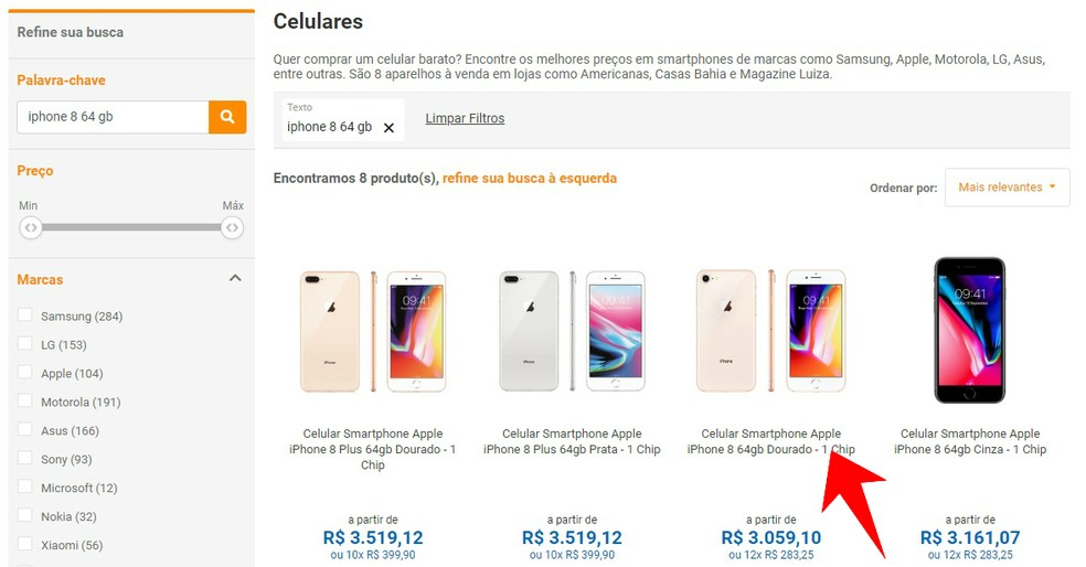 Escolha o produto desejado entre os resultados do Compare TechTudo — Foto: Reprodução/Rodrigo Fernandes