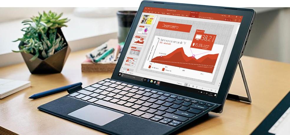 Além de slides, é possível criar peças gráficas no PowerPoint — Foto: Divulgação/Microsoft