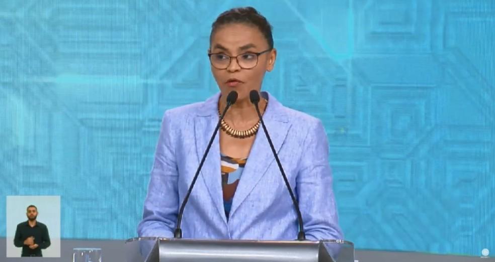 A candidata da Rede à Presidência, Marina Silva, no debate da Rede Record — Foto: Reprodução