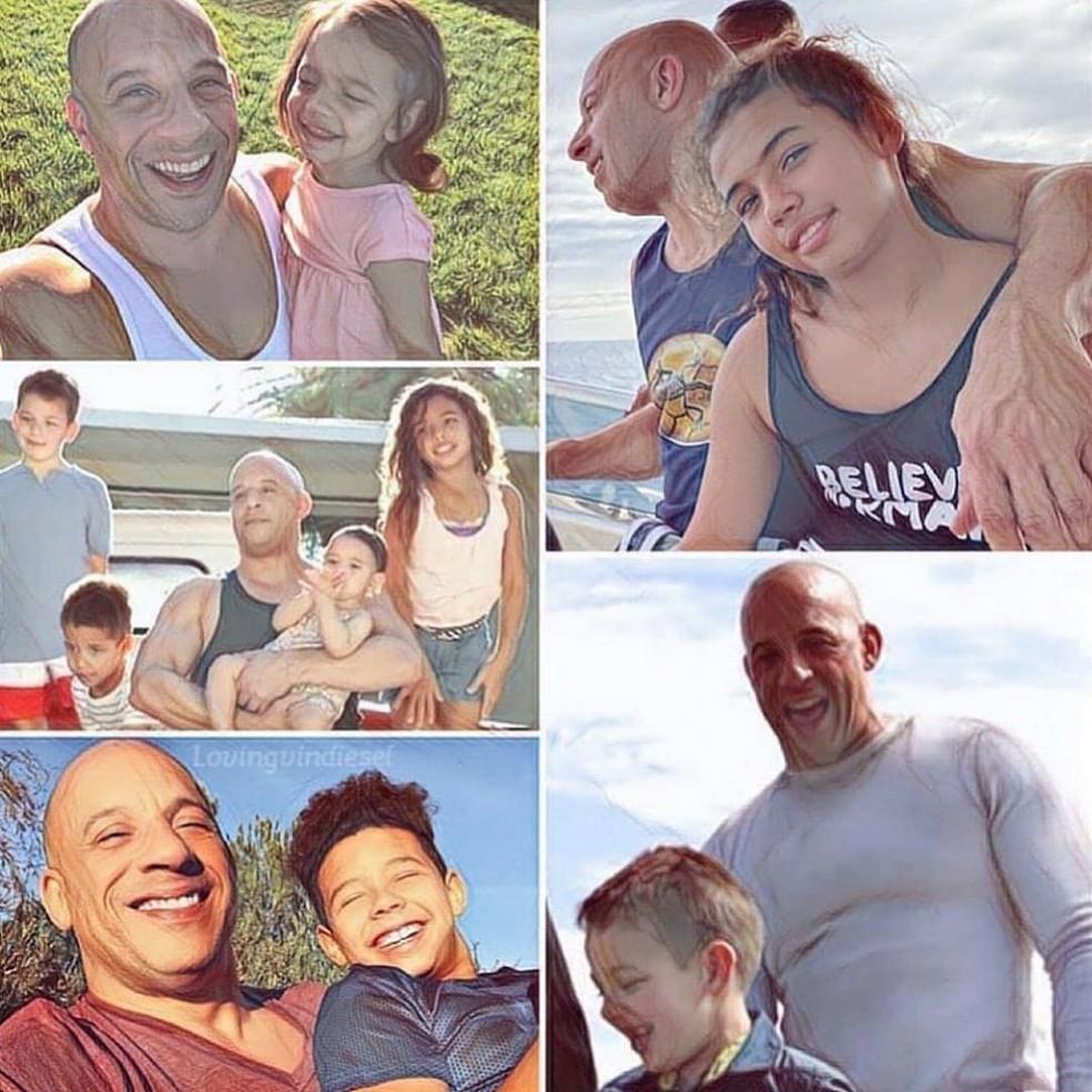 Vin Diesel é um super paizão — Foto: Reprodução/Instagram