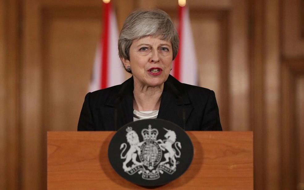 A primeira-ministra britânica, Theresa May, durante pronunciamento sobre o Brexit, na quarta-feira (20) — Foto: Jonathan Brady/Pool via Reuters