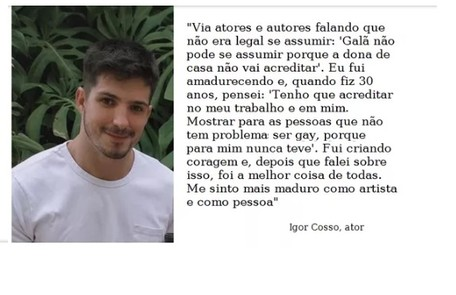 Igor Cosso se declara gay. O ator faz parte do elenco de 'Salve-se quem puder' Reprodução