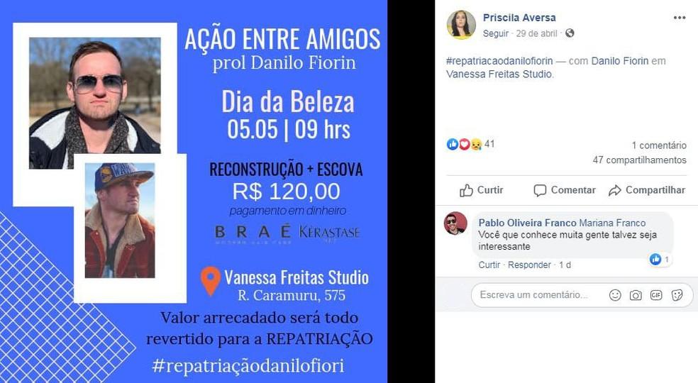 Mobilização para repatriar corpo do piracicabano Danilo Fiorin  — Foto: Reprodução/Facebook/Priscila Aversa
