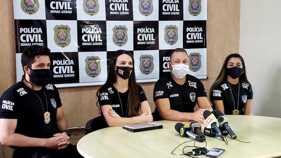 A delegada Gabriela Pádua e outros delegados que participaram das investigações. — Foto: Raquel Freitas / G1 Minas
