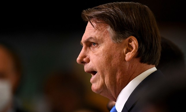 O presidente da República, Jair Bolsonaro, durante discurso no Palácio do Planalto no dia 31 de março