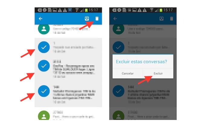 Deletando conversas no histórico de mensagens do Google Messenger (Foto: Reprodução/Marvin Costa)
