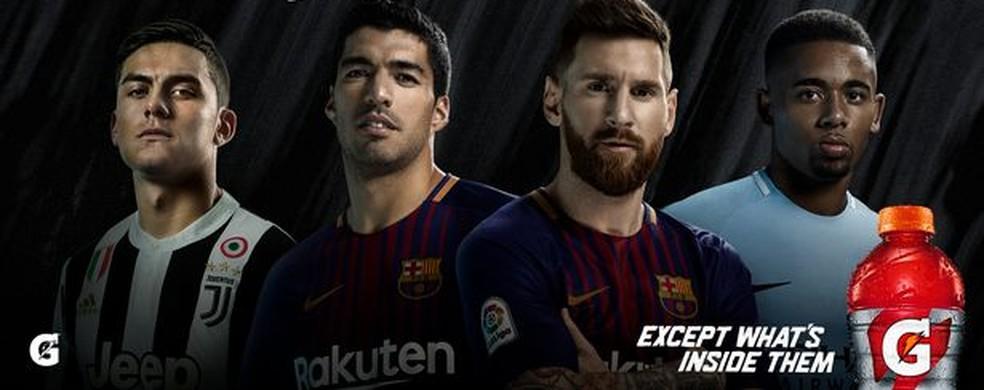 Dybala, Suárez, Messi e Gabriel Jesus são os jogadores que estrelam campanha mundial da Gatorade. Seria um deles na garrafa que irritou Felipão? (Foto: divulgação)