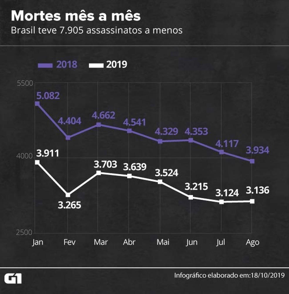 Mortes mês a mês — Foto: Rodrigo Cunha/G1