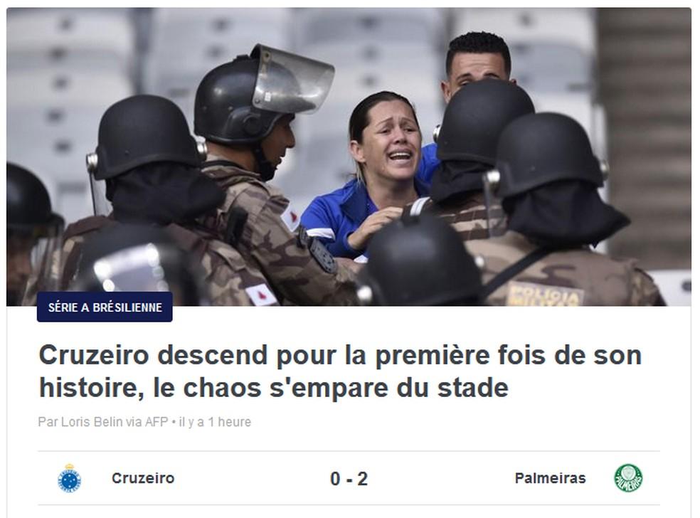Eurosport, da França, repercute rebaixamento do Cruzeiro e confusão no Mineirão — Foto: Reprodução