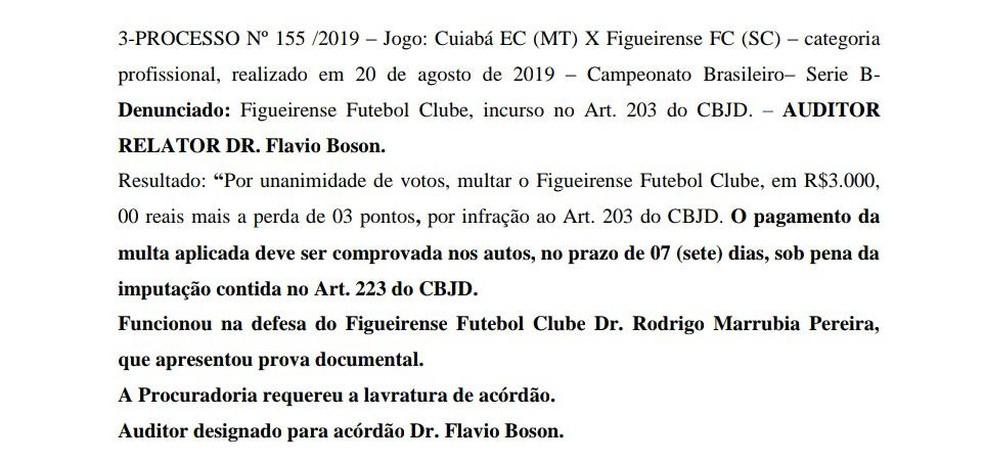 Veja a decisão do Figueirense sobre o W.O. — Foto: Reprodução/STJD