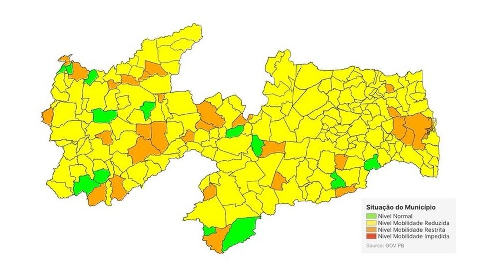 81% dos municípios paraibanos estão na bandeira amarela de classificação — Foto: SES-PB/Reprodução