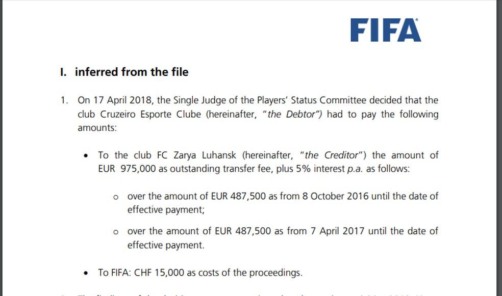 Notificação do Comitê Disciplinar da Fifa em novembro de 2019, para o Cruzeiro, em relação à dívida com o Zorya, com valor de 975 mil euros mais multas e juros — Foto: Reprodução/Fifa