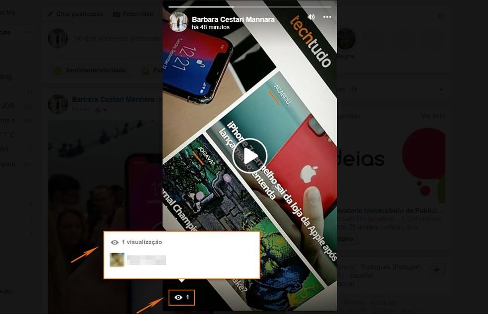 Descubra quem já viu suas Facebook Stories pelo computador (Foto: Barbara Mannara/TechTudo)