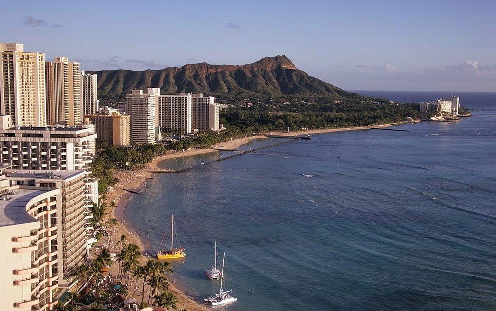 Vista da cidade de Honolulu, a capital do Estado do Havaí — Foto: 12019/Creative Commons