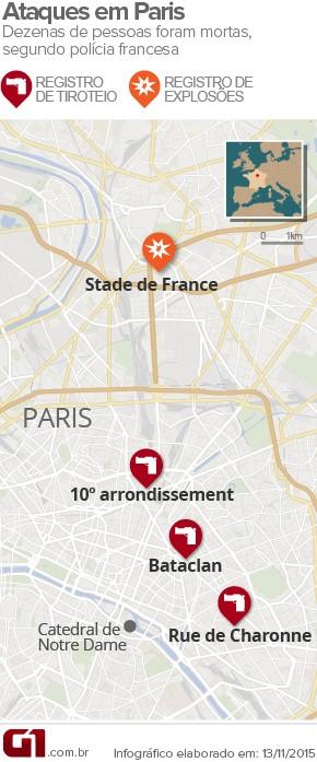 4 VALE ESTE - Ataques terroristas em Paris deixam mortos; houve explosões e há reféns (Foto: Arte/G1)