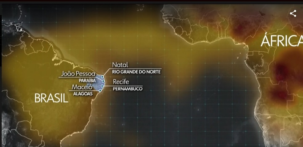 Fumaça da África viaja pelo Atlântico e atinge cidades do Litoral Nordestino — Foto: Reprodução/Jornal Nacional