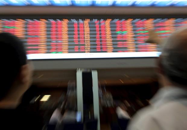 Telão eletrônico na bolsa de valores de São Paulo (Foto: Paulo Whitaker/Reuters/Arquivo)