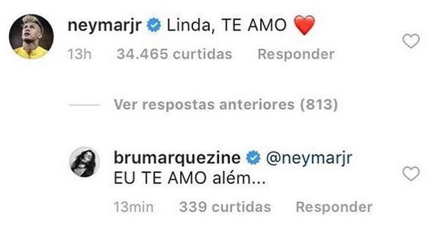 Neymar e Bruna Marquezine trocam declarações de amor  (Foto: Reprodução/Instagram)