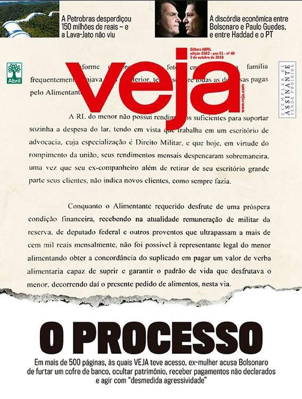 """Capa da revista """"Veja"""" de 28 de setembro de 2018 — Foto: Reprodução"""