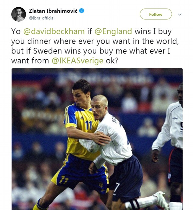 A aposta feita por Zlatan Ibrahimovic com David Beckham antes da derrota da Suécia para a Inglaterra na Copa do Mundo (Foto: Twitter)