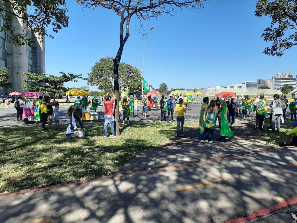 Grupo vestido de verde e amarelo, com bandeiras do Brasil e em referência à monarquia, faz ato na Esplanada, neste domingo (7) — Foto: Luiz Barbieri/G1
