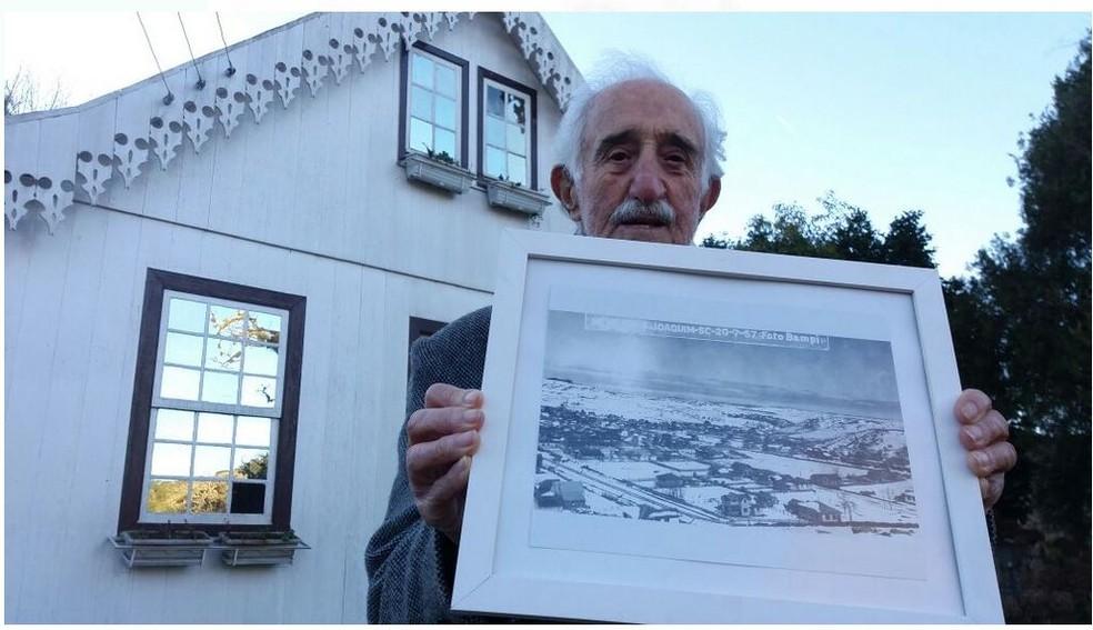 Vidal Cândido presenciou a nevasca de 1957 em São Joaquim (Foto: Glauco Silvestre Silva/Arquivo Pessoal)