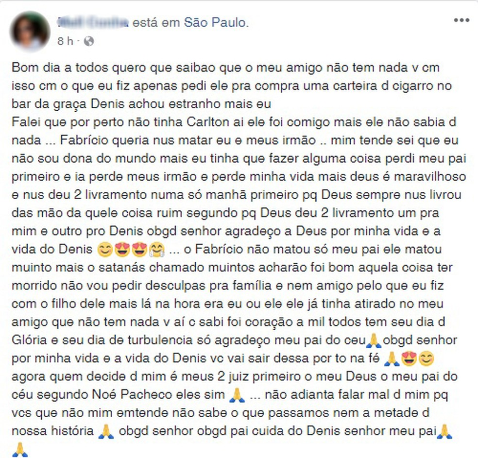 Em outra publicação a mulher reafirma que amigo não participou das mortes (Foto: Reprodução / Facebook)